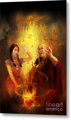 Metal Print featuring the painting Drum Story Elders Teaching by Rob Corsetti