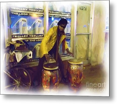 Metal Print featuring the photograph Drumma Man In Oils by Kelly Awad