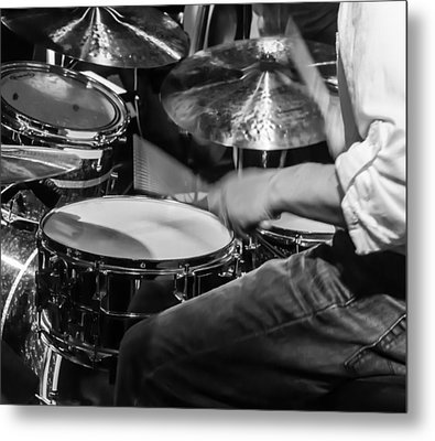 Drummer At Work Metal Print