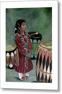 Drummer Girl Metal Print