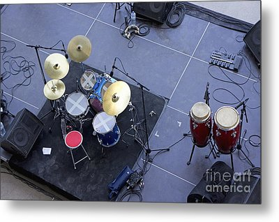 Drums Percussion And Monitors On Stage Metal Print by Sami Sarkis