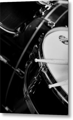Drums Sticks And Drums Black And White Metal Print