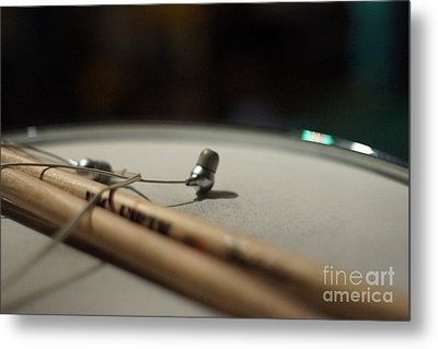 Drumsticks And Ear Buds Metal Print by Lynda Dawson-Youngclaus
