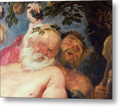 Drunken Silenus Supported By Satyrs, C.1620 Oil On Canvas Detail Metal Print