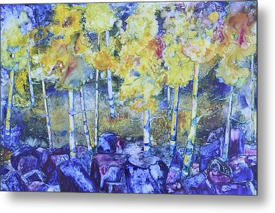 Dry Creek Aspens Metal Print by Nancy Jolley