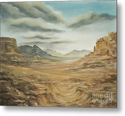 Metal Print featuring the painting Dry Storm by Cathy Cleveland