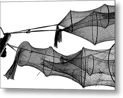 Drying Fishing Trap Nets On Poles Metal Print by Niels Quist