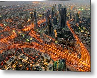 Dubai Areal View At Night Metal Print by Lars Ruecker