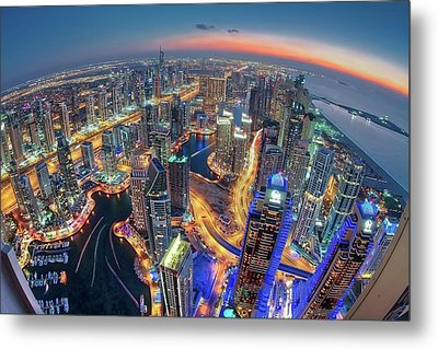 Dubai Colors Of Night Metal Print by Sanjay Pradhan