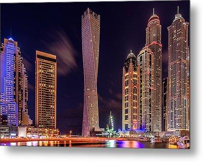 Dubai Marina Night Shot Metal Print by Vinaya Mohan