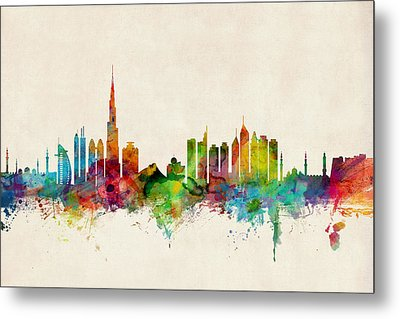 Dubai Skyline Metal Print by Michael Tompsett