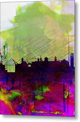 Dublin Watercolor Skyline Metal Print by Naxart Studio