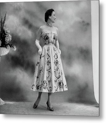 Duchess Of Windsor In A Dior Ball Gown Metal Print by Cecil Beaton
