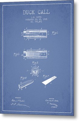 Duck Call Instrument Patent From 1905 - Light Blue Metal Print by Aged Pixel