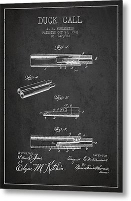 Duck Call Patent From 1903 - Charcoal Metal Print by Aged Pixel