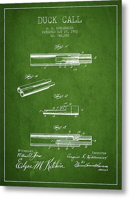 Duck Call Patent From 1903 - Green Metal Print by Aged Pixel