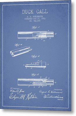 Duck Call Patent From 1903 - Light Blue Metal Print by Aged Pixel