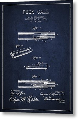 Duck Call Patent From 1903 - Navy Blue Metal Print by Aged Pixel