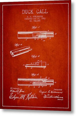 Duck Call Patent From 1903 - Red Metal Print by Aged Pixel