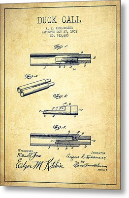Duck Call Patent From 1903 - Vintage Metal Print by Aged Pixel