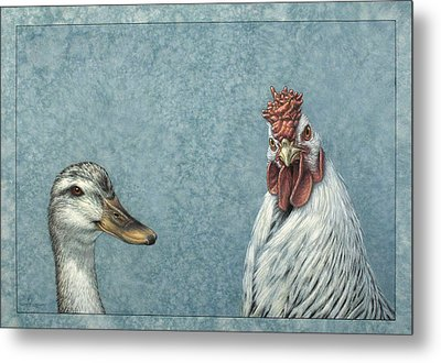 Duck Chicken Metal Print by James W Johnson