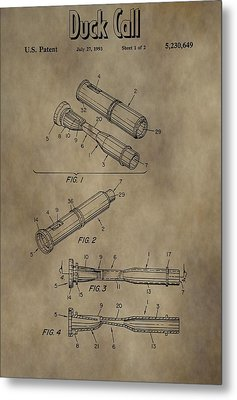 Duck Dynasty Duck Call Patent Metal Print