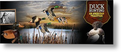 Duck Hunting An American Tradition Metal Print by Retro Images Archive