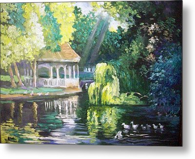 Duck Pond Stephens Green  Park Dublin Metal Print by Paul Weerasekera