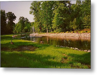 Metal Print featuring the photograph Duck Pond With Water Fountain by Amazing Photographs AKA Christian Wilson