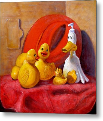 Duck Soap With Red Hat Metal Print by Donelli  DiMaria
