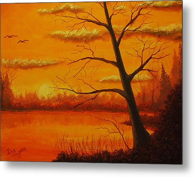 Metal Print featuring the painting Duck Sunset by Dan Wagner