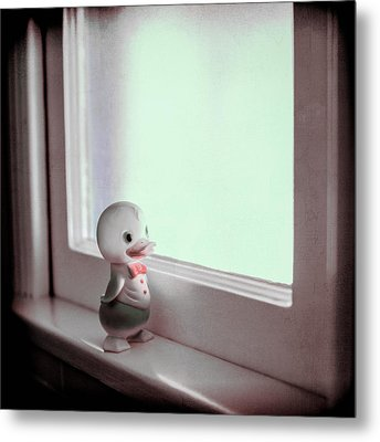 Duckie At The Window Metal Print by Yo Pedro