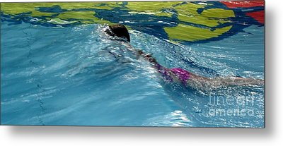 Ducking Under A Wave In A Pool Metal Print by Kerri Mortenson
