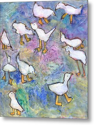 Metal Print featuring the mixed media Ducks by Catherine Redmayne