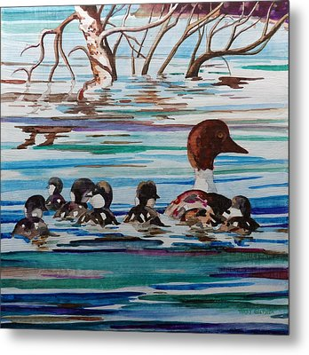 Ducks In A Row Metal Print by Terry Holliday