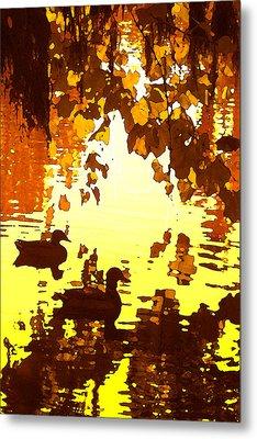 Ducks On Red Lake B Metal Print by Amy Vangsgard