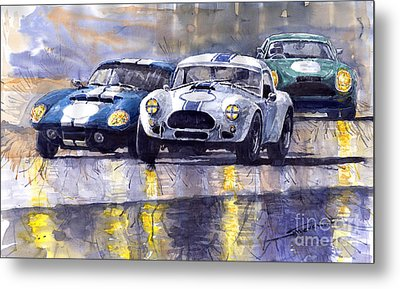Duel Ac Cobra And Shelby Daytona Coupe 1965 Metal Print by Yuriy  Shevchuk