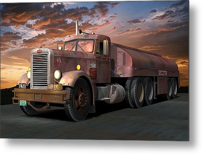 Duel Truck With Trailer Metal Print