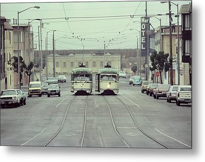 N Judah Dueling Streetcars.  End Of Judah Street.  1970s. Metal Print