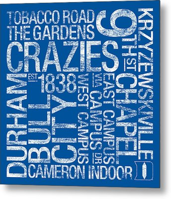Duke College Colors Subway Art Metal Print