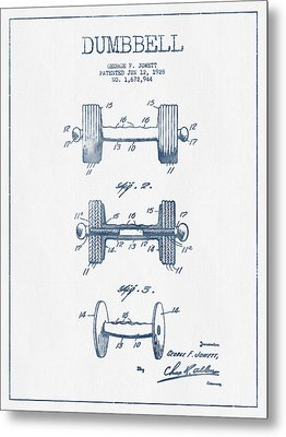Dumbbell Patent Drawing From 1927  -  Blue Ink Metal Print by Aged Pixel