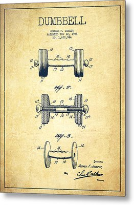 Dumbbell Patent Drawing From 1927 - Vintage Metal Print by Aged Pixel