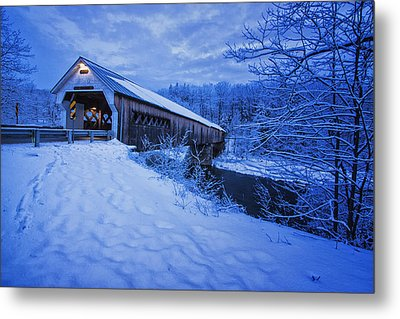 Dummerston Bridge In Winter Metal Print