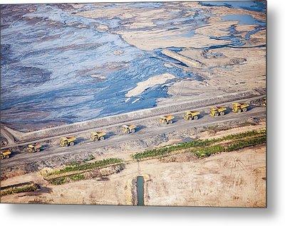 Dump Trucks At Tar Sand Mine Metal Print