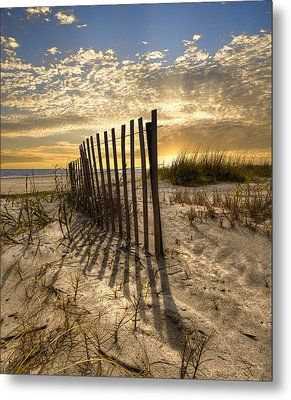 Dune Fence At Sunrise Metal Print by Debra and Dave Vanderlaan