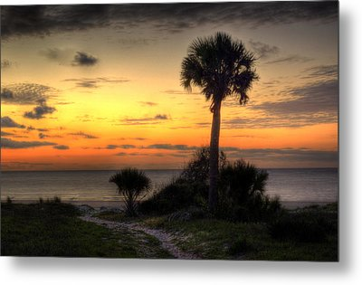 Dune Trail At Sunrise Metal Print by Greg and Chrystal Mimbs