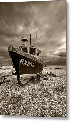 Dungeness Boat Under Stormy Skies Metal Print