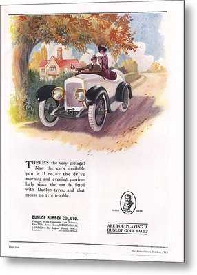 Dunlop 1919 1910s Uk Cars Tyres Metal Print by The Advertising Archives