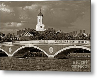 Weeks Bridge Charles River Bw Metal Print