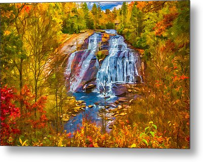 Dupont Forest High Falls In Autumn Metal Print